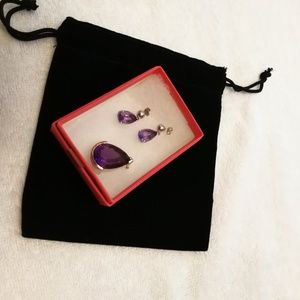 Jewelry - Polished gemstone Amathyst earrings + pendant set